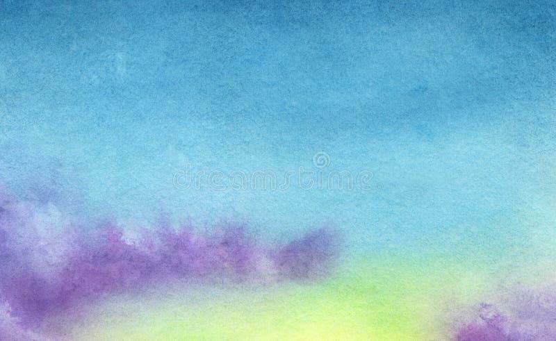 Nubes abstractas amarillas y azules de la acuarela ilustración del vector