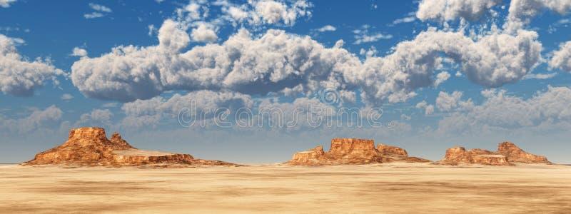 Nubes agradables del tiempo sobre un paisaje del desierto stock de ilustración
