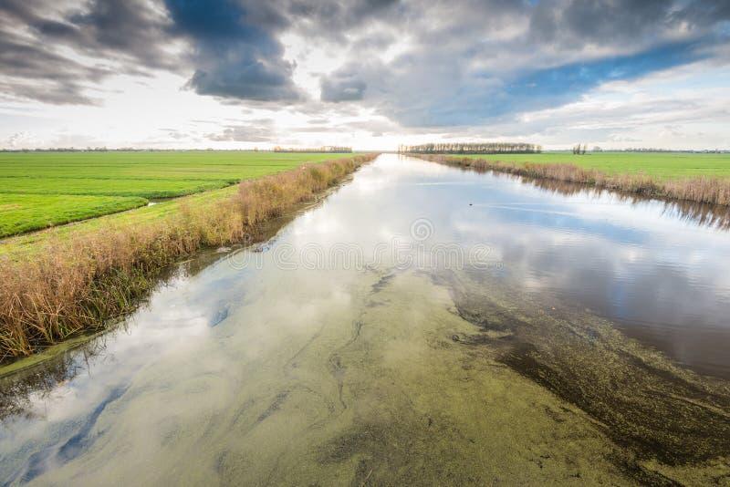 Nubes amenazadoras sobre un paisaje holandés del pólder imagen de archivo