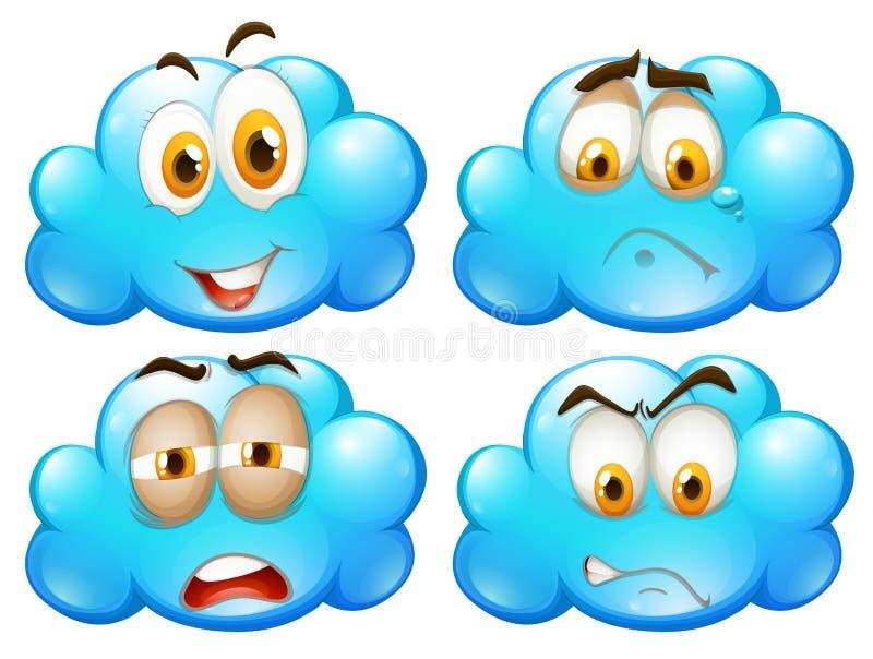 Nubes azules con diversas expresiones faciales libre illustration