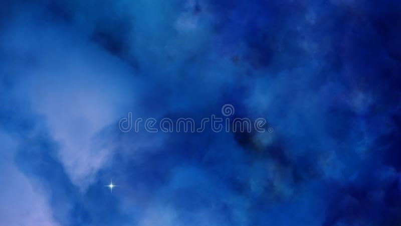 nubes azules de la nebulosa 3D en el espacio profundo stock de ilustración