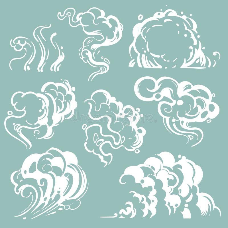 Nubes blancas del humo y de polvo de la historieta Vapor cómico del vector aislado libre illustration