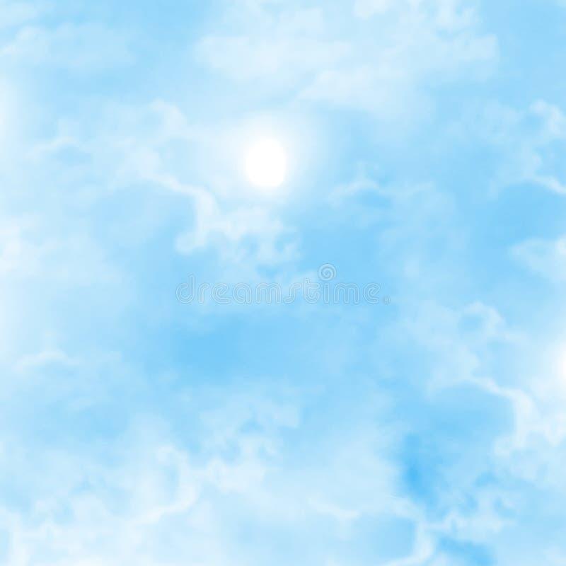 Nubes blancas en cielo azul stock de ilustración