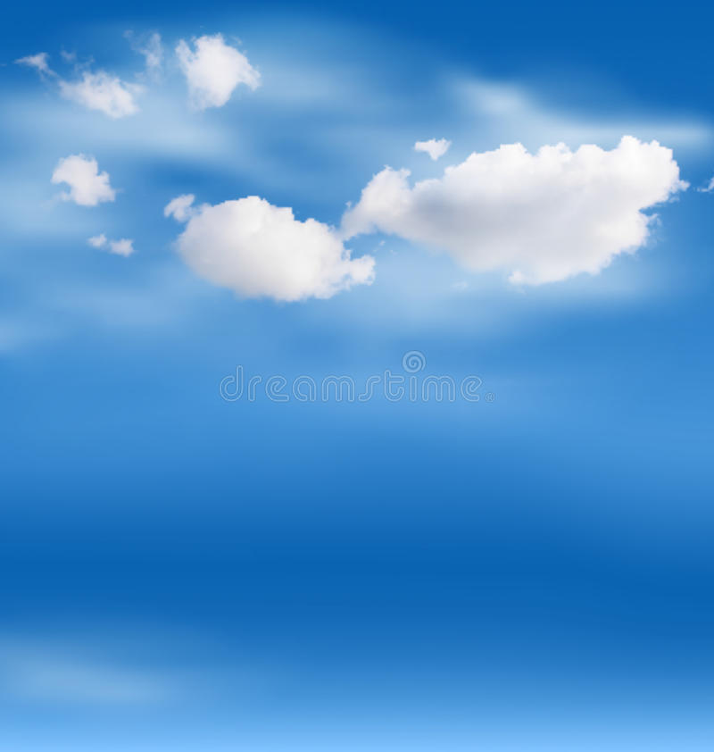 Nubes blancas en el cielo en azul ilustración del vector