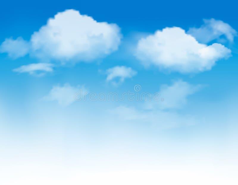 Nubes blancas en un cielo azul. Fondo del cielo. stock de ilustración