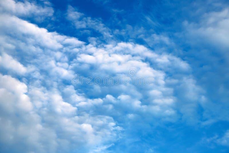 Nubes blancas hermosas, cumulonimbus, cúmulo, nubes de lluvia en un cielo azul Nubes blancas pintorescas, fant?sticas llano imagen de archivo
