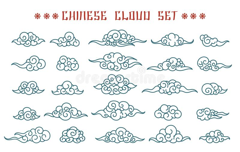 Nubes chinas fijadas libre illustration