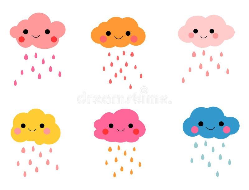 Nubes con las gotas de agua libre illustration