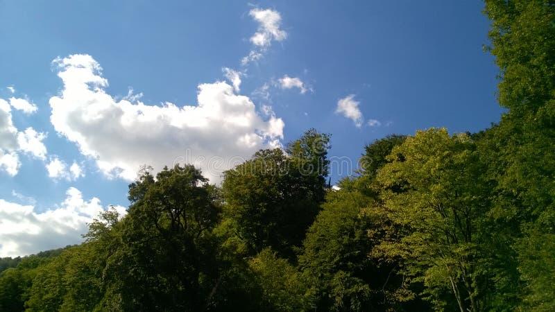 Nubes de cúmulo blancas sobre las montañas verdes imagen de archivo libre de regalías