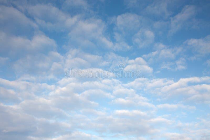 Nubes de Ciroccumulus de la mucha altitud en cielo azul imagen de archivo libre de regalías