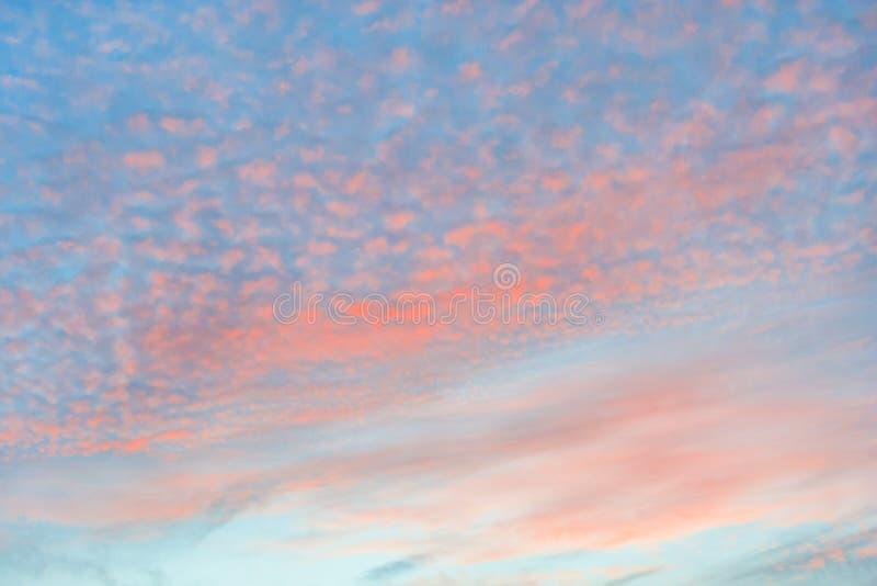 Nubes de cirrocúmulo anaranjadas en cielo azul foto de archivo libre de regalías