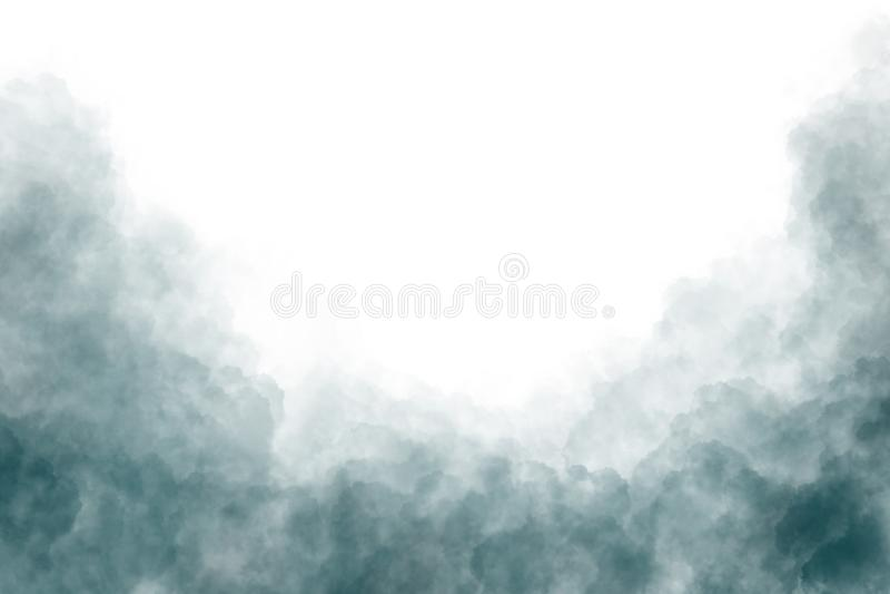Nubes de humo oscuras aisladas en el fondo blanco ilustración del vector