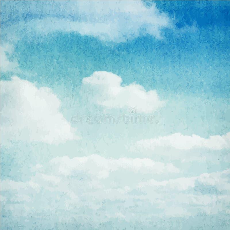 Nubes de la acuarela y fondo del cielo ilustración del vector