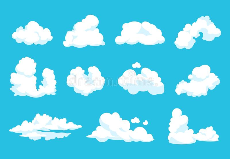 Nubes de la historieta El símbolo mullido vintage azul del cielo de la atmósfera del cielo del 2.o limpia el gráfico nublado de l ilustración del vector