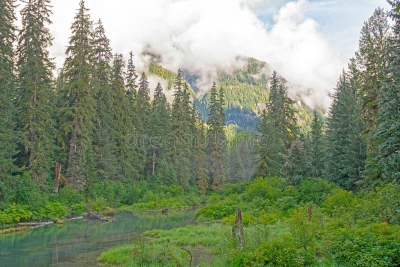 Nubes de la mañana en las montañas costeras fotos de archivo