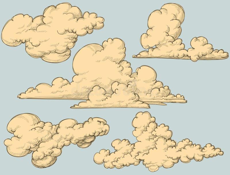 Nubes de la vendimia stock de ilustración