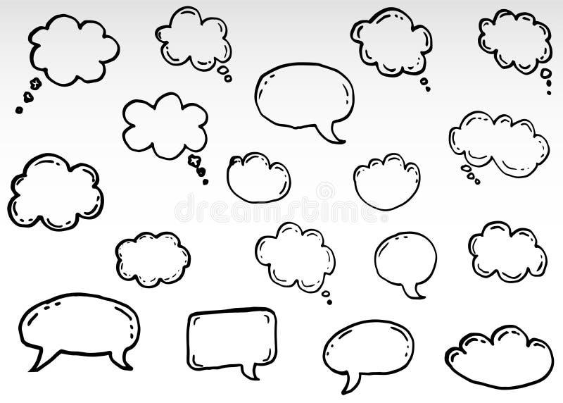 Nubes de pensamiento del garabato, burbujas de la historieta de la charla ilustración del vector