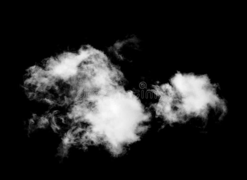 Nubes de Whtie aisladas en fondo negro fotografía de archivo