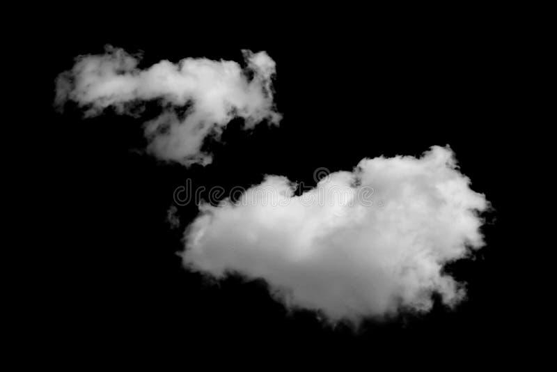 Nubes de Whtie aisladas en fondo negro fotos de archivo
