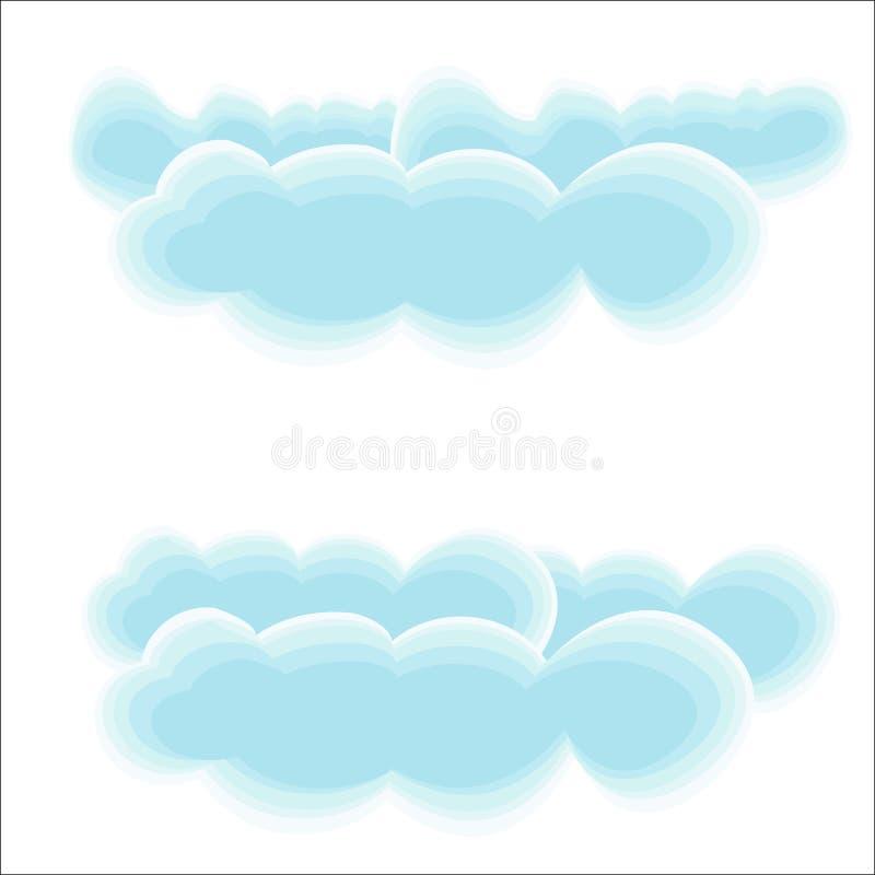 Nubes del aire ligero Las nubes azules de la historieta vuelan en el cielo claro Conveniente para los cuentos de hadas de los niñ stock de ilustración