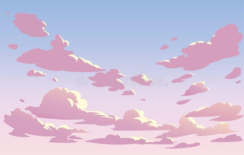 Nubes del cielo del paisaje del vector Cielo rosado ilustración del vector