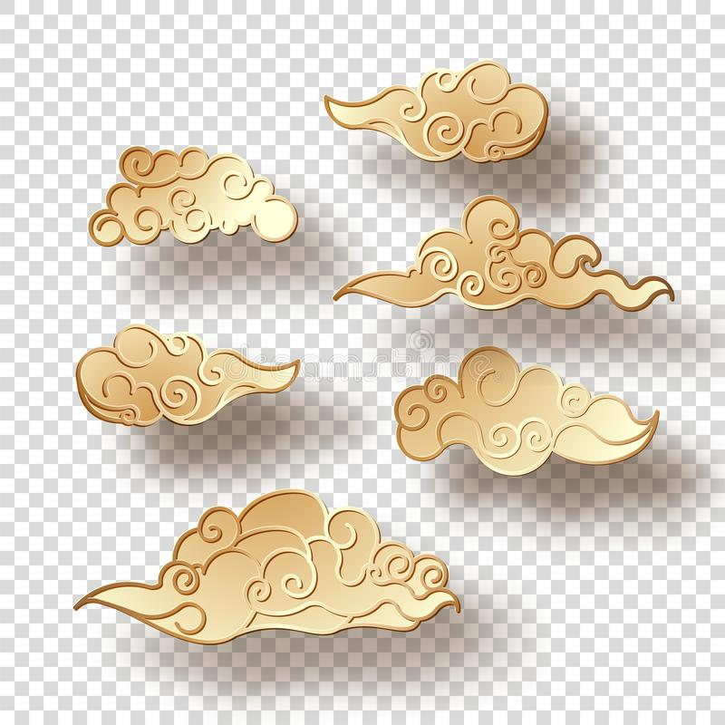 Nubes del estilo chino stock de ilustración