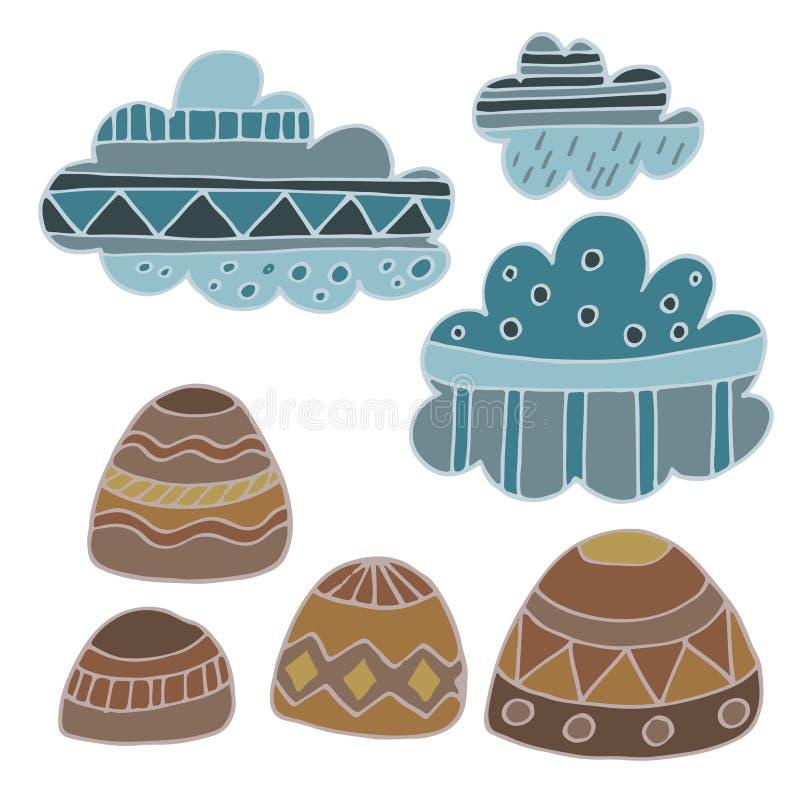 Nubes del invierno y sistema dibujado mano del vector de las rocas ilustración del vector