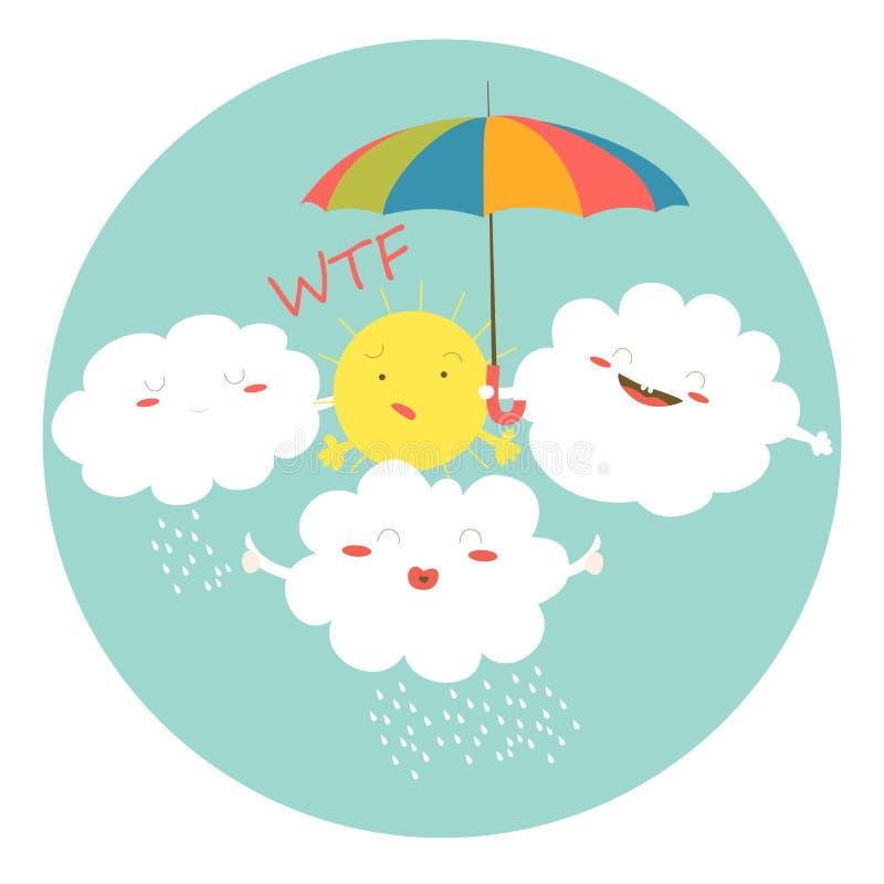 Nubes divertidas que abrazan el sol libre illustration