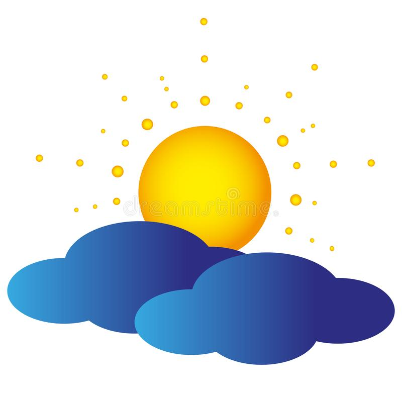 Nubes e icono anaranjado del vector del sol libre illustration