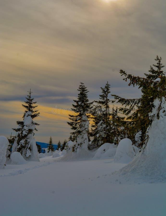 Nubes e invierno de los colores foto de archivo