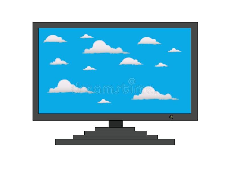 Nubes en la pantalla de la TV fotos de archivo