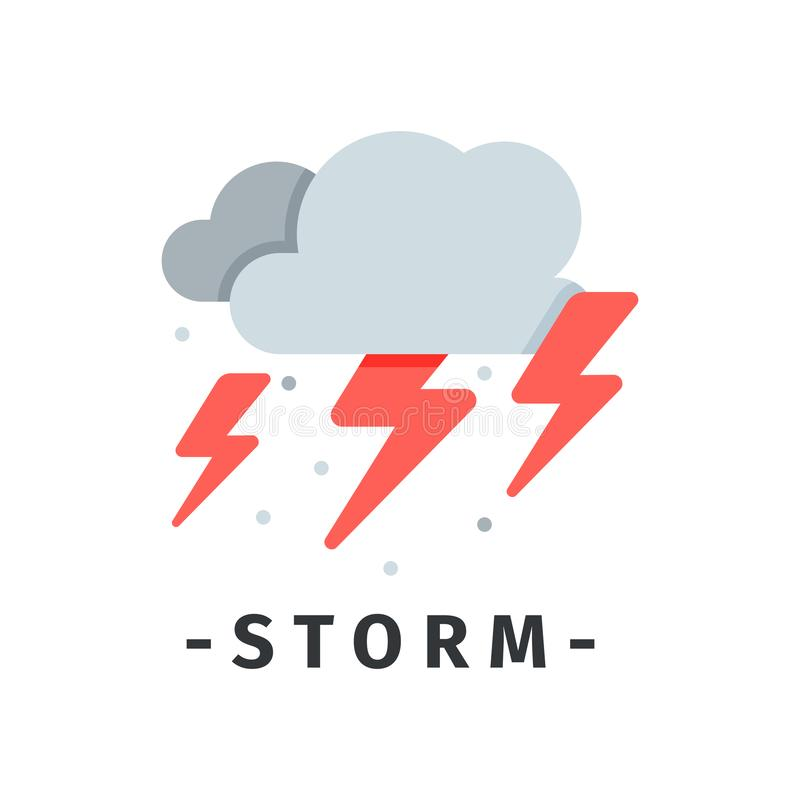 Nubes grises y relámpagos rojos Tormenta y tiempo de la tempestad de truenos Desastre natural Icono plano del vector ilustración del vector