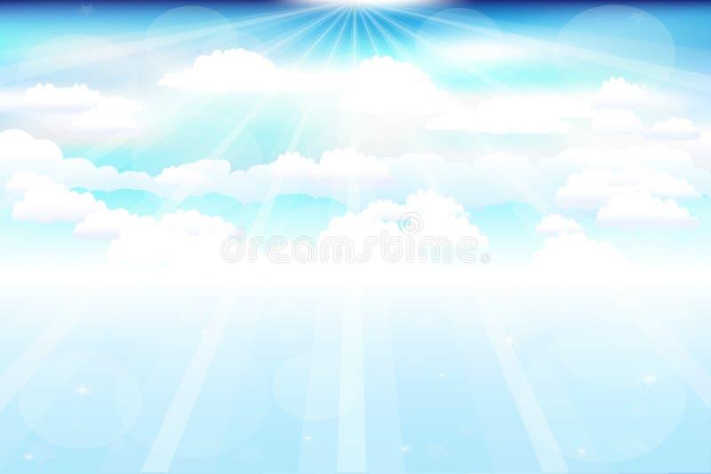Nubes hermosas con los rayos stock de ilustración