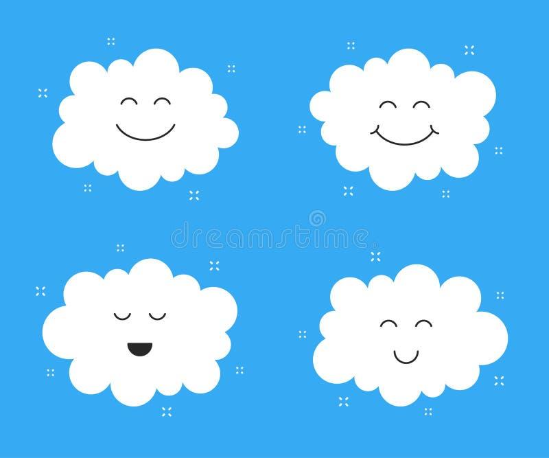 Nubes lindas Sonrisa y cara feliz deliciosa Iconos de la nube Vector libre illustration