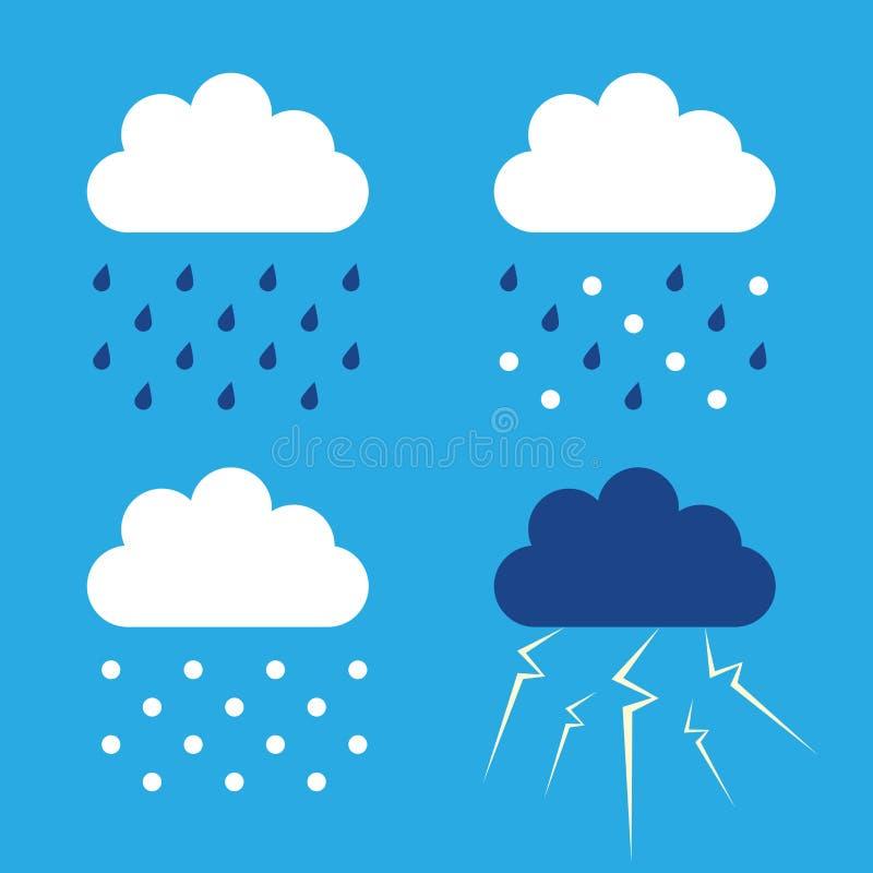 Nubes, lluvia, nieve, trueno libre illustration