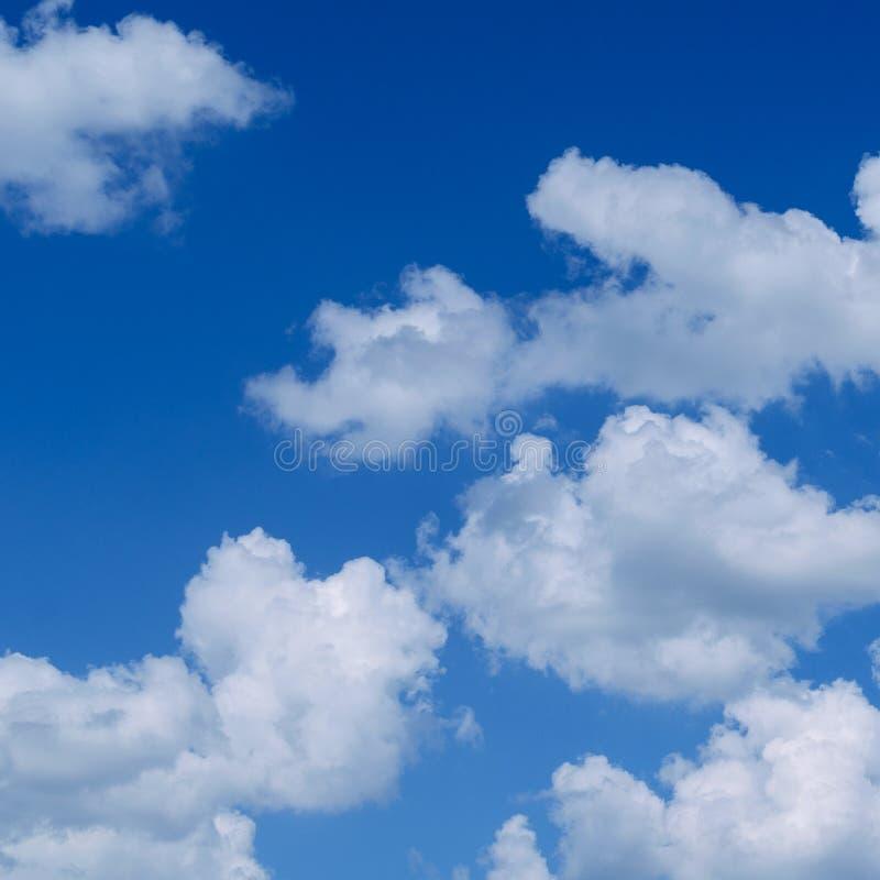 Nubes mullidas blancas en el cielo azul extenso Naturaleza abstracta Backgr imagenes de archivo