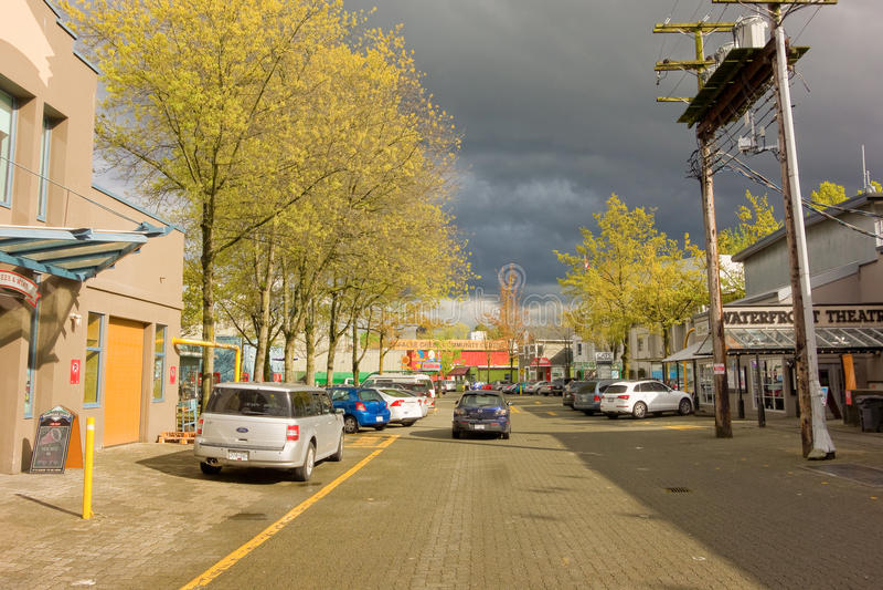 Nubes negras sobre la isla de granville, Columbia Británica fotografía de archivo libre de regalías