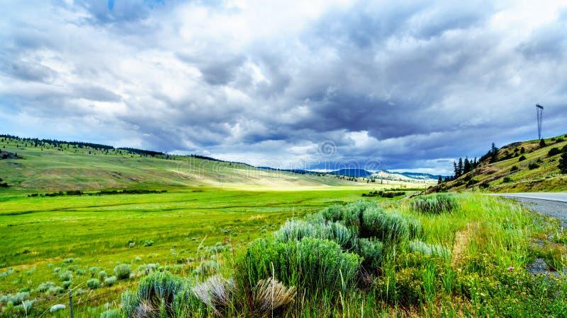 Nubes oscuras que cuelgan sobre las tierras de labrantío fértiles y la Rolling Hills a lo largo de la carretera 5A cerca de Nicol fotografía de archivo libre de regalías