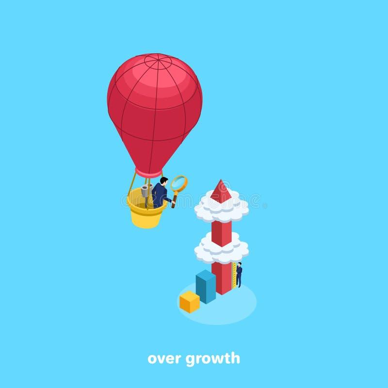 Nubes piercing muy altas del diagrama de columna y un hombre en un traje de negocios con una lupa en un globo ilustración del vector