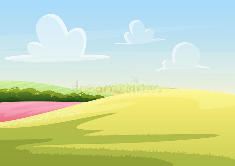 Nubes que flotan en el cielo azul sobre campo pacífico con paisaje del ejemplo del vector de la hierba verde ilustración del vector