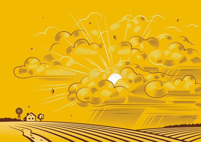 Nubes sobre campos libre illustration