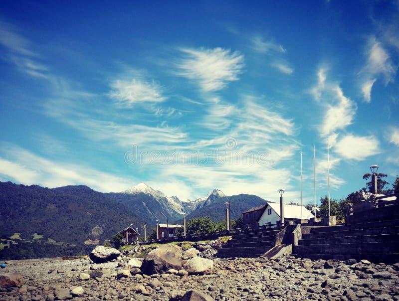 Nubes sobre Cochamo, Chile imagen de archivo