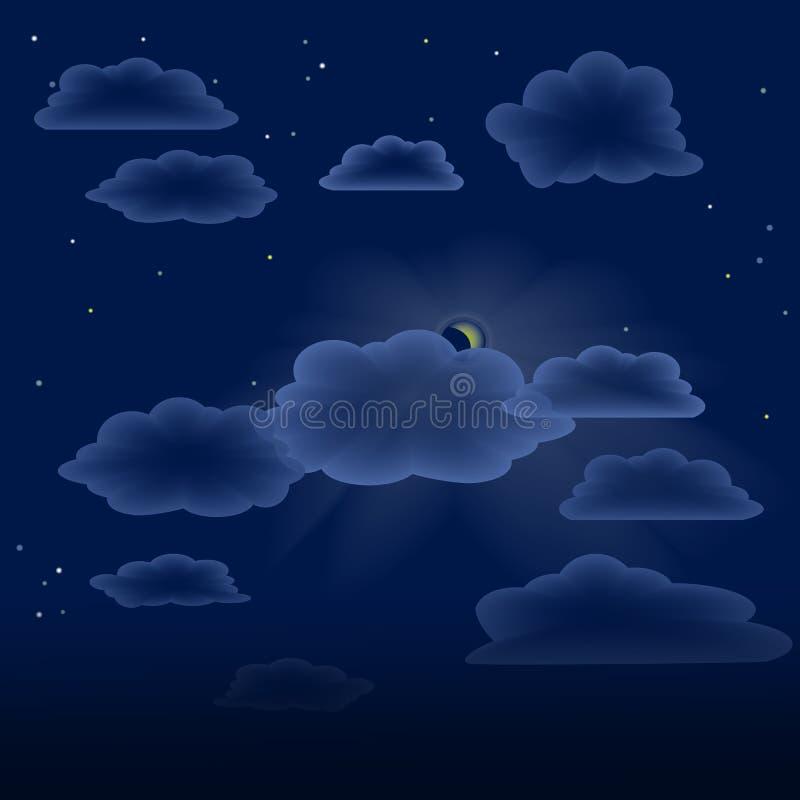Nubes transparentes en el cielo nocturno foto de archivo