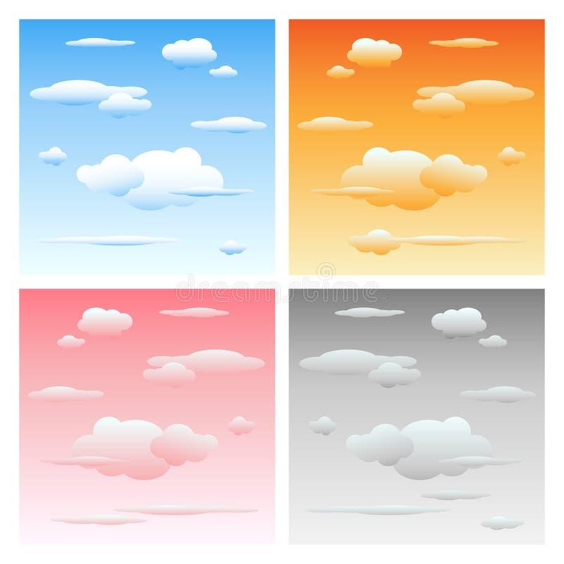 Nubes y cielo - conjunto stock de ilustración