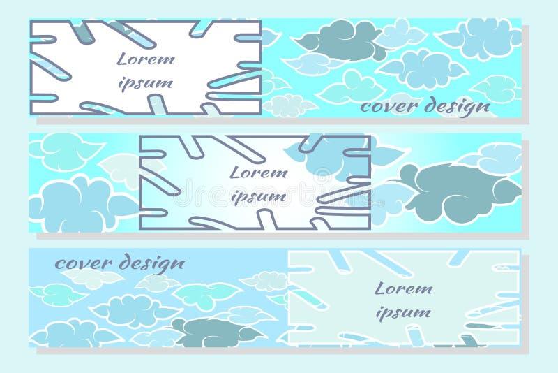 Nubes y cielo en diseño plano del estilo japonés Fije de las plantillas horizontales modernas del dise?o para las cubiertas, tarj ilustración del vector