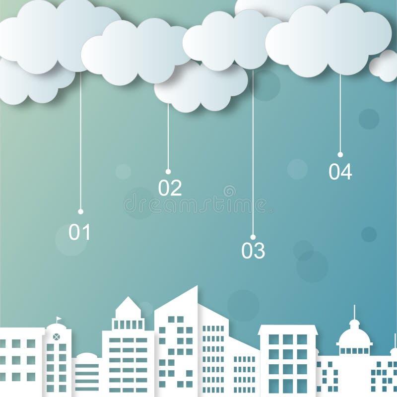 Nubes y ciudades del vector libre illustration