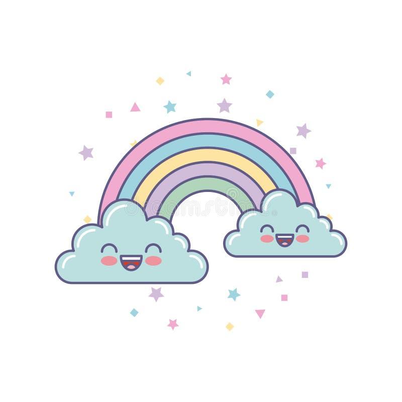 nubes y dibujo lindos del arco iris ilustración del vector