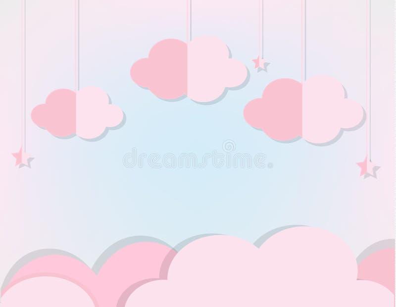 Nubes y estrellas rosadas en cielo azul suave El fondo en corte del papel, el estilo del arte de papel para el bebé, los niños y  ilustración del vector
