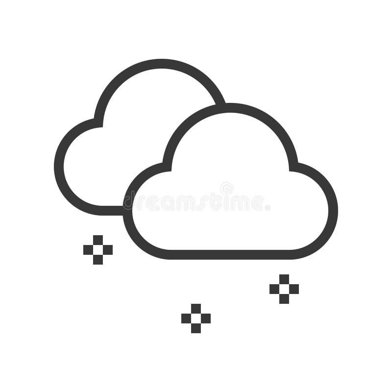 Nubes y nieve, sistema 1, esquema s editable del tema de la Feliz Navidad stock de ilustración