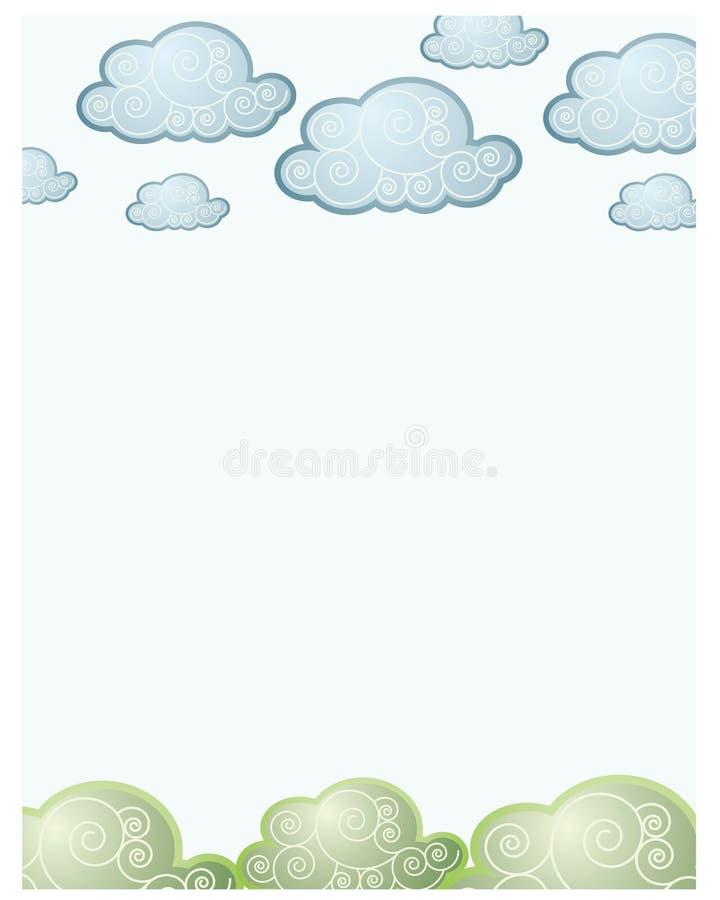 Nubes y parte posterior de la hierba libre illustration